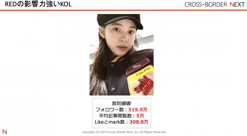 小紅書(RED)人気KOLインフルエンサー:欧阳娜娜(オーヤン・ナナ)