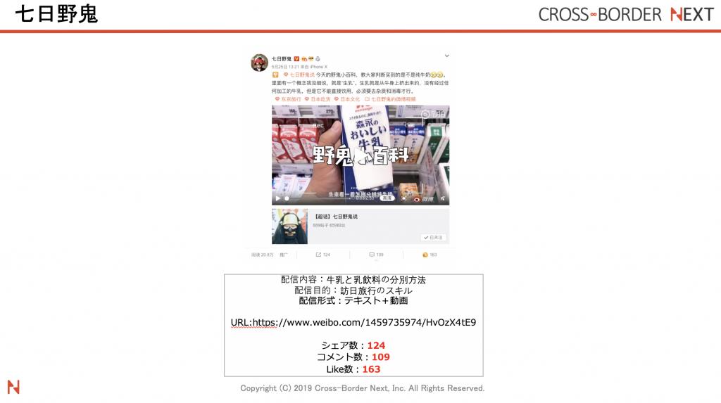 中国人インフルエンサー七日野鬼(ナノカノオニ)の牛乳と乳飲料の分別方法を伝えている投稿です