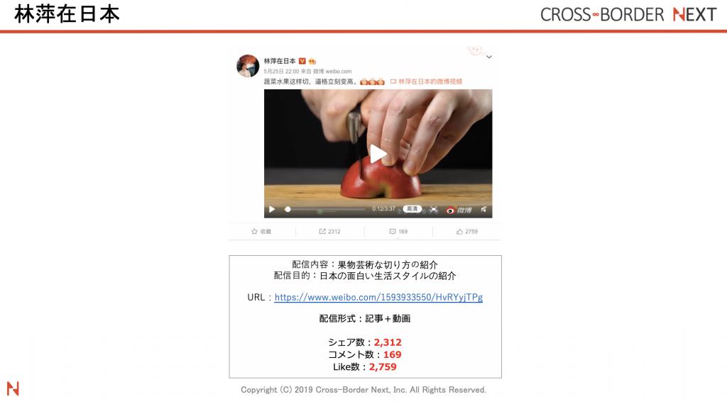 中国人インフルエンサー林萍在日本(リンピンザイリーベン)が果物の芸術的な切り方を紹介している投稿