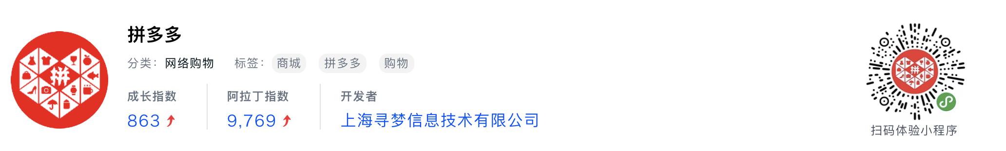 WeChatミニプログラム最新ランキングTOP20【2019年6月版】1位:拼多多