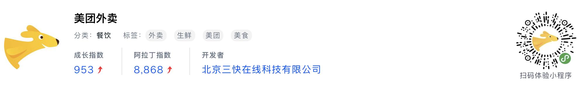 WeChatミニプログラム最新ランキングTOP20【2019年6月版】7位:美团外卖
