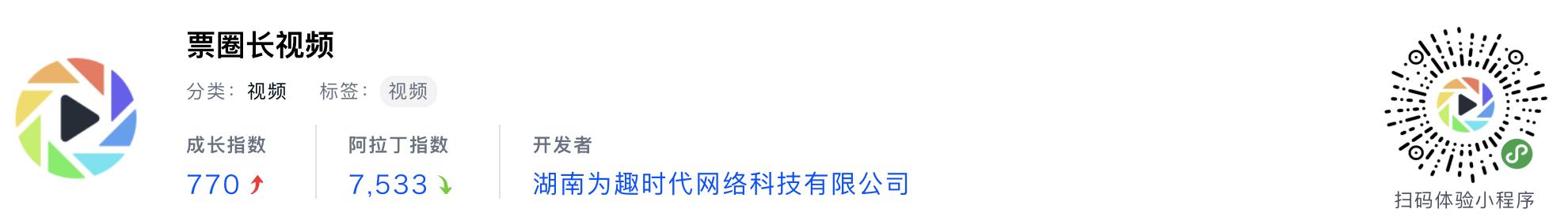 WeChatミニプログラム最新ランキングTOP20【2019年6月版】8位:票圈长视频
