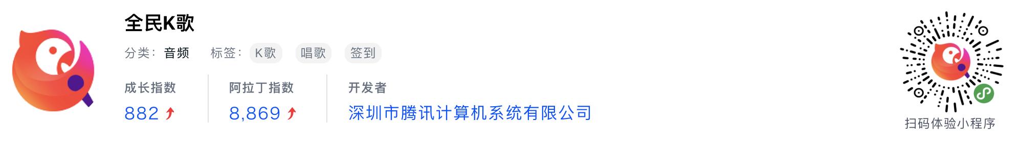 WeChatミニプログラム最新ランキングTOP20【2019年6月版】11位 :全民k歌