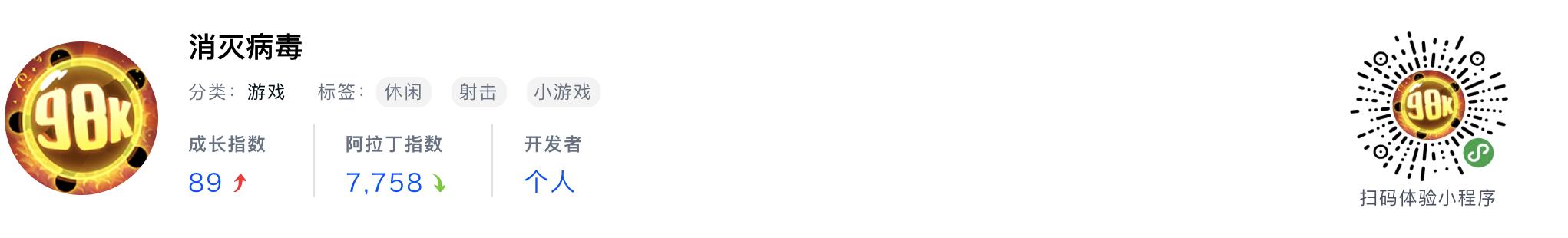 WeChatミニプログラム最新ランキングTOP20【2019年6月版】12位 :消灭病毒