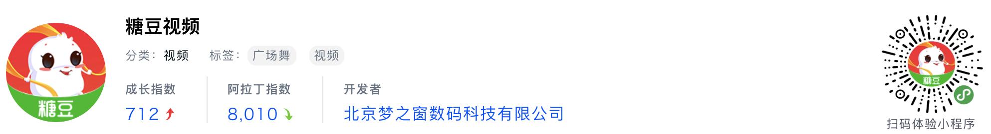 WeChatミニプログラム最新ランキングTOP20【2019年6月版】15位 :糖豆视频