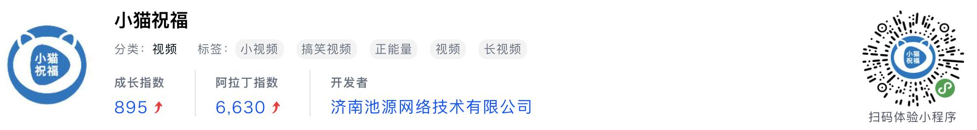 WeChatミニプログラム最新ランキングTOP20【2019年6月版】16位 :小猫祝福
