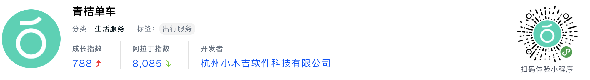 WeChatミニプログラム最新ランキングTOP20【2019年6月版】20位 :青桔单车