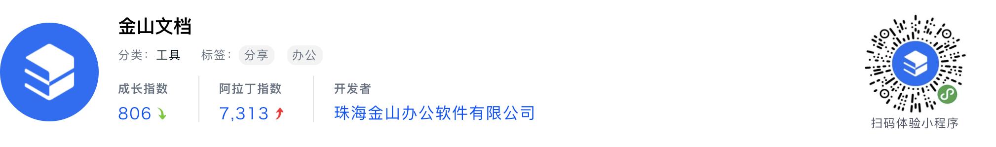 WeChatミニプログラム最新ランキングTOP20【2019年6月版】17位 :金山文档